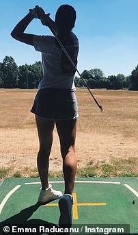 Emma Raducanu at the driving range