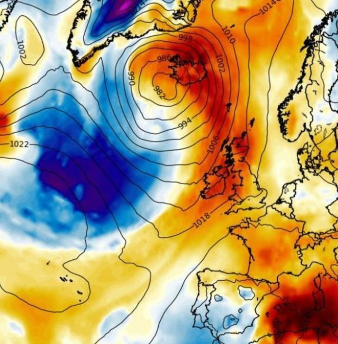 After last week's 86F, fresh heat arrives from the subtropics on Tuesday - as shown on a weather map - sucked north by powerful Larry, now nearing Iceland