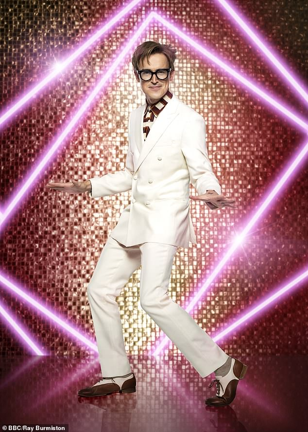 New series: Among the celebrities who are competing for the chance to raise that iconic glitterball trophy is McFly star Tom Fletcher, who cut a dapper figure in a gleaming white suit