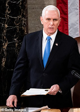 Mike Pence presides over a joint session of Congress as they certified the election results for Biden on January 6, 2021