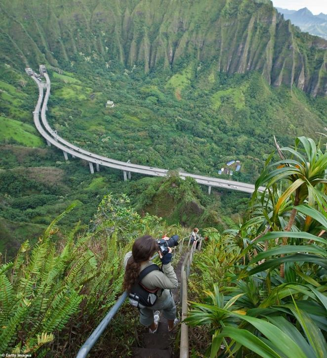 The steep 2,480-foot climb includes 3,922 narrow steps built into Oahu's Koolau mountain range and allows hikers to feel like their heads are literally in the clouds