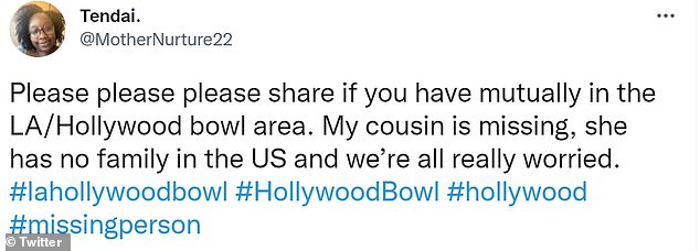 A user who said they were Tanya's cousin wrote: 'Please please please share if you have mutually in the LA/Hollywood bowl area. My cousin is missing, she has no family in the US and we're all really worried'