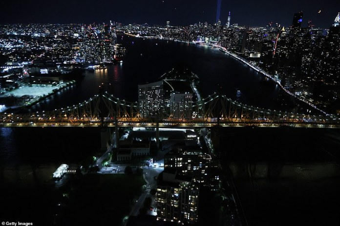 The Queensboro Bridge is seen at night on the 20th anniversary of the 9/11 terror attacks on Saturday