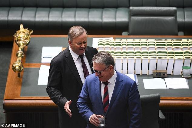 Australian Opposition Leader Anthony Albanese (left) speaks to Joel Fitzgibbon in Parliament in 2019