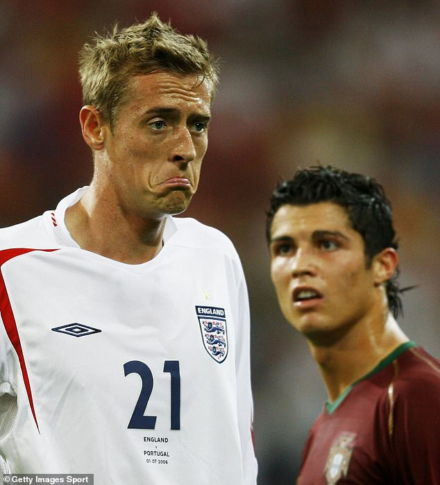 Crouch and Ronaldo clashed in England's meeting with Portugal in the 2006 World Cup