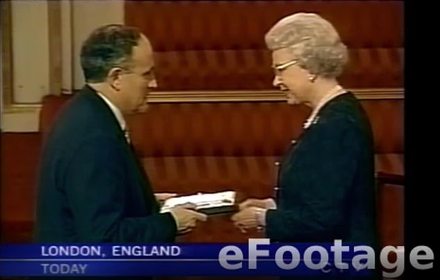 In February 2002, just months after the September 11 attacks, Giuliani was awarded an honorary knighthood by Queen Elizabeth II. During Saturday's dinner, Giuliani tried to mimic the monarch