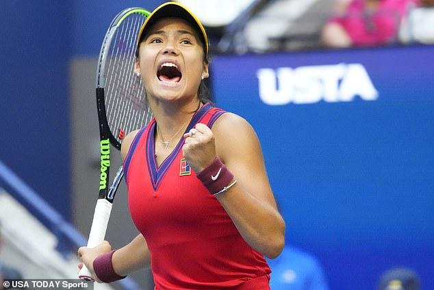 Emma Raducanureacts after winning a point against Leylah Fernandez of Canada