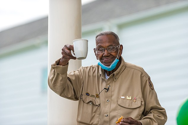(FILE)Lawrence Brooks, the oldest living WWII veteran greeted a crowd sending him 'Happy Birthday' wishes at a celebration organized by the National World War II to commemorate his life and service