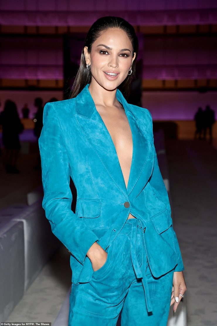 Texture:Eiza Gonzalez, 31, looked ready to hit the dance floor in a sumptuous suede suit