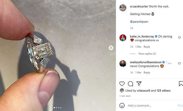 Another view of the ring posted to Instagram in Ms Carter's engagement announcement on Sunday