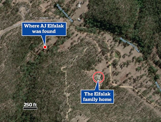 This aerial image shows the distance between AJ's home and the area where he was found - complete with the dense bushland and dangerously steep terrain in between