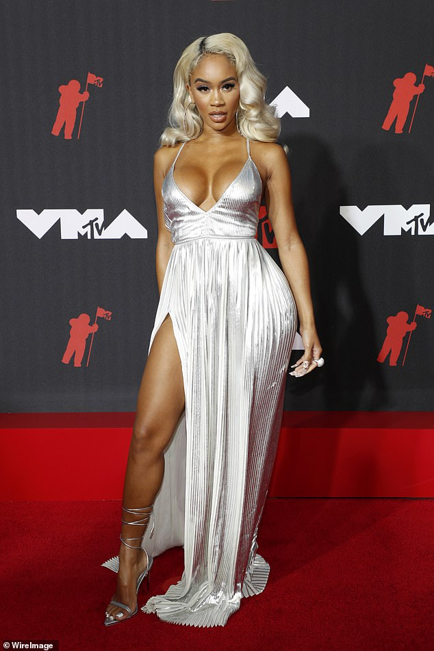 Bombshell: Saweetie put on an eye-popping display on the red carpet of the 2021 MTV Video Music Awards in Brooklyn, New York on Sunday night