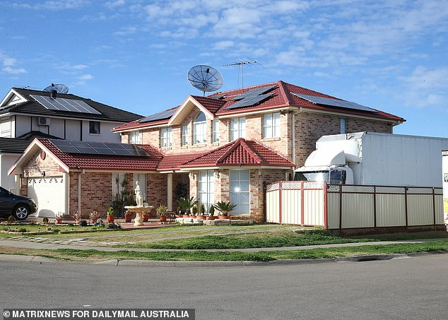 Pictured: The Shawkas' family home. The twins were forced to sit in a ute outside her Green Valley property while police conducted investigations inside the house