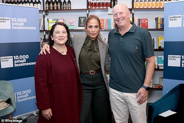 With her pals: Lopez, pictured with Casillas Guzman and David Solomon, has a new program called Limitless Labs that promotes Latinas in business