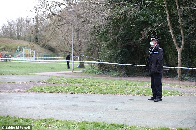Police at the scene on April 4.Mr Willson's wife Annie, 49, had described how her husband was 'fighting for his life after brain surgery for multiple bleeds on the brain' following the incident