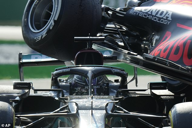 The rear end of Max Verstappen's Red Bull came within inches of Hamilton's head after collison