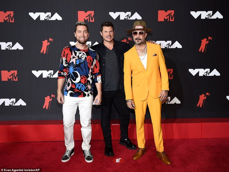 Boy-banding together: NSYNC's Lance Bass, 98 Degree's Nick Lachey and Backstreet Boys' AJ McLean made it clear there was no more feuding between the 2000s era boy-banders