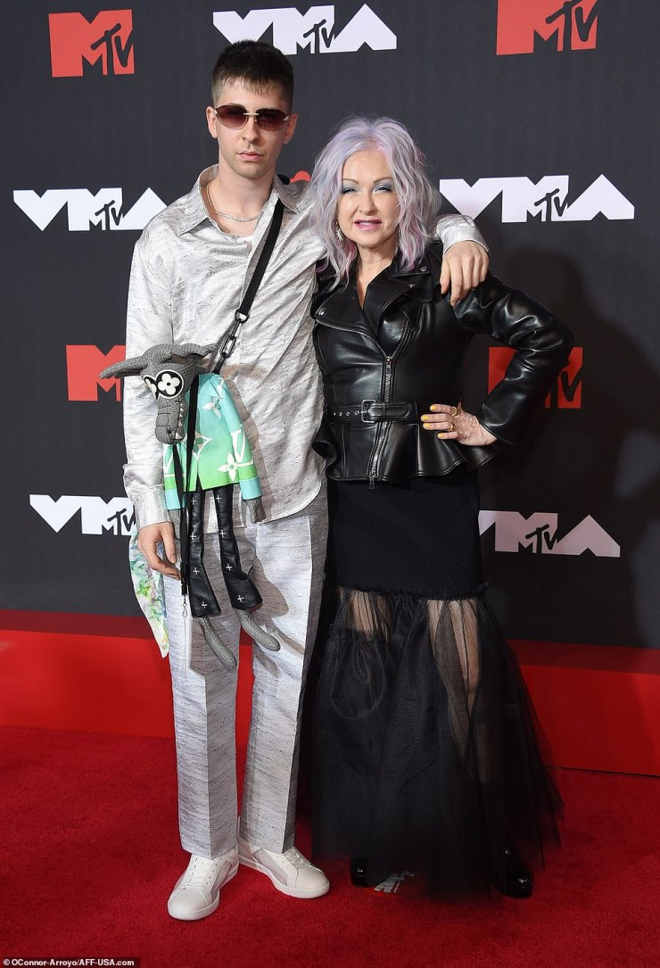 Mother and son: Cyndi Lauper looked cool as ever while with her son DeclynWallace Thornton Lauper