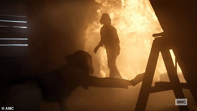 Roaring fire:Soon the room was ablaze and Daryl heroically broke down slats and broke open a window to first rescue Leah and then himself
