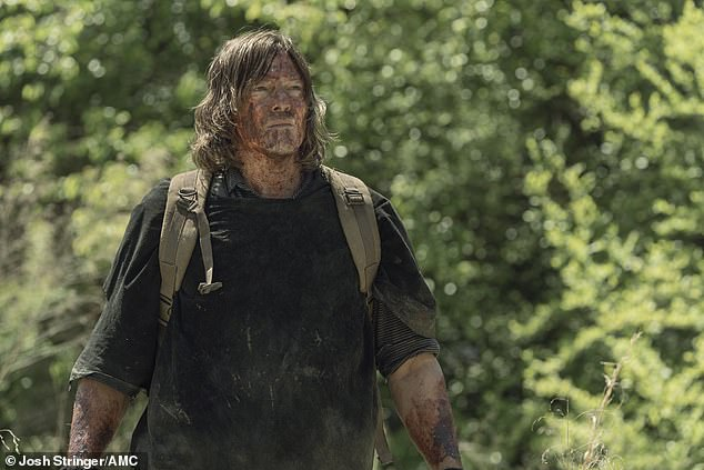 Together again:Daryl Dixon was reunited with his love interest Leah on Sunday's episode of The Walking Dead on AMC