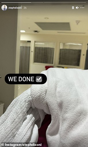 Surgery complete! 'We done,' she wrote alongside the first image of herself wrapped up in a hospital blanket.