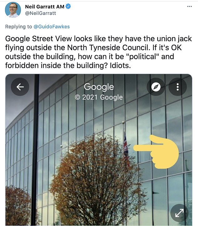 Neil Garratt, Conservative London Assembly Member for Croydon and Sutton, tweeted: 'Google Street view looks like they have the Union Jack flying outside'