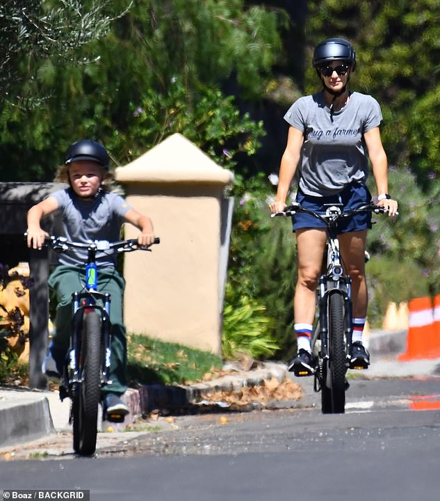 Family: Jennifer Garner enjoyed some quality time with her son Samuel, nine, on Sunday, after her ex- Ben Affleck made his first red carpet appearance with J-Lo at the Venice Film Festival