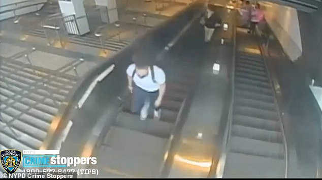The victim fell backwards to the bottom of the escalator as the suspect continued up the escalator and out of the station