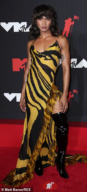 Tribute: On Sunday night, Bretman Rock, 23, paid tribute to Aaliyah at the 2021 MTV VMAs by wearing the exact same dress worn by the late singer to the awards bash back in 2000