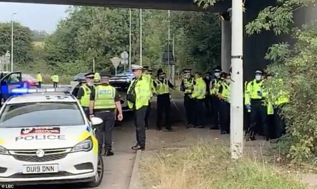 Officers took the protesters away and put them into police vans atKings Langley this morning