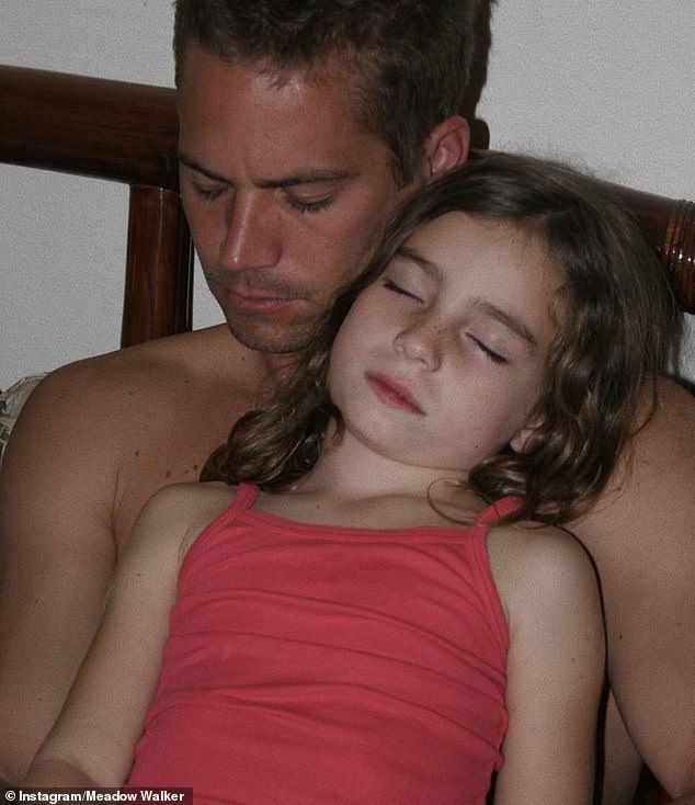 Adorable: Meadow was just 15 when Paul died and has kept a close relationship with his co-star Vin Diesel, who is her godfather
