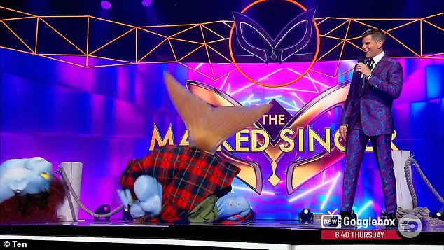 Losing his head: But not even 10 minutes into The Masked Singer Australia, the Mullet's identity was almost revealed before the show's panel of judges could even make a guess