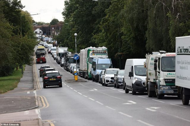 Travel chaos in Swanley, Kent, this morning after Insulate Britain stopped traffic at junction 3 of the M25