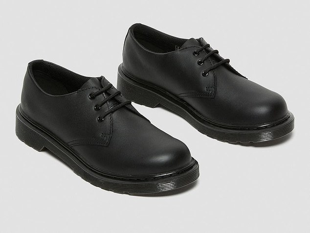 The Dr Martens school shoes (pictured) were added to the school's banned list when the uniform policy was updated last month. Some parents claim the new rules are unclear and asked for guidelines on what the school deems acceptable