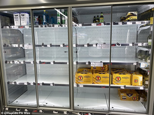 Supermarkets have warned that gaps on shelves are likely to get worse in the run-up to Christmas. Pictured above are empty shelves at a Co-op store in July