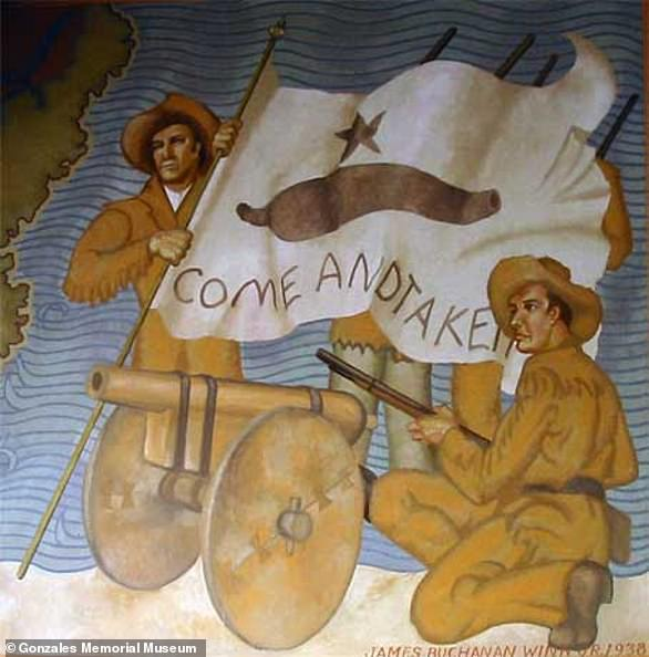 'Come and Take It' was a rallying cry that triggered the Battle of Gonzales, one of the main turning points of the Texas Revolution.Two ladies of the town, Cynthia Burns and Evaline DeWitt, painted a flag on cotton cloth, depicting the cannon, the lone star of Texas and a clear challenge to the enemy - 'Come and Take It'