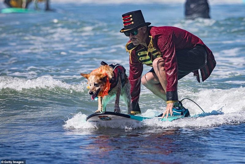 Homer Henard and his surfing partner Skyler (dog) were among several competitors to hit the waves on Sunday afternoon
