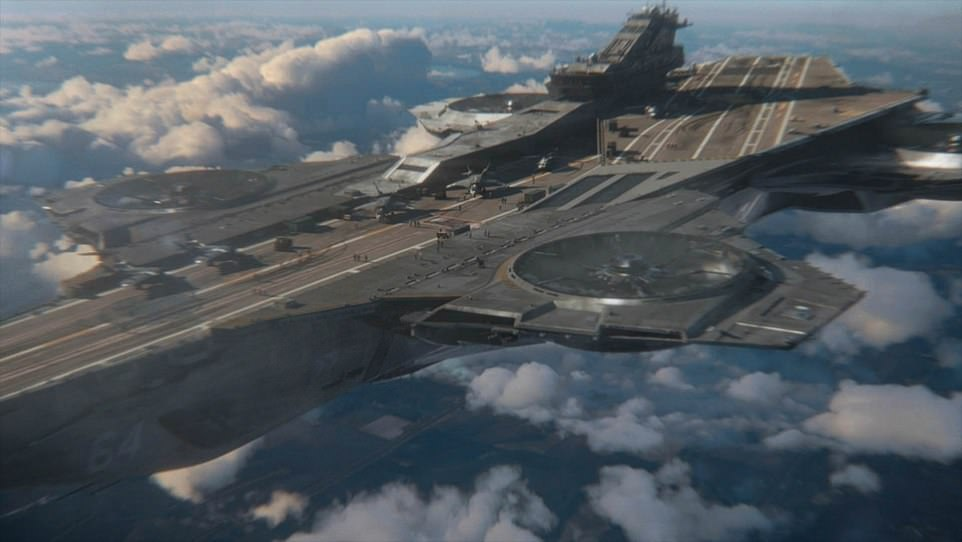Several of the Royal Navy ideas would not look out of place in Avengers: Endgame, Avengers: Infinity War or some of the other films in the Marvel Cinematic Universe. Pictured is the Helicarrier featured in 2012's The Avengers