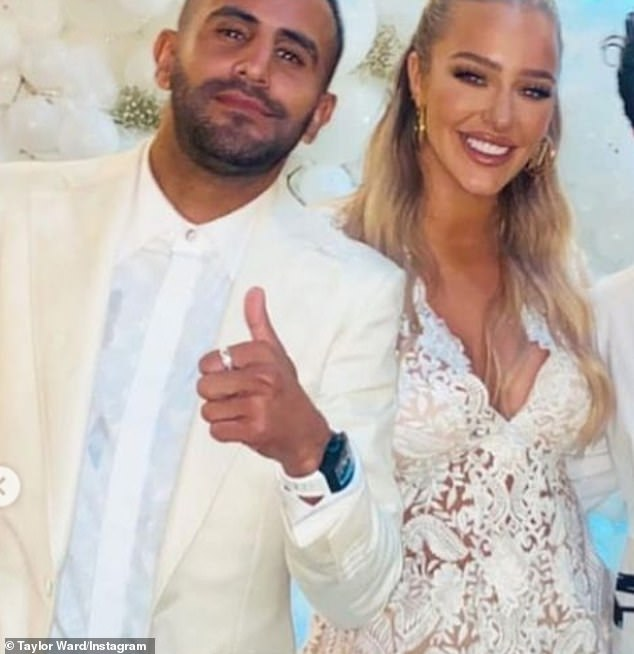 Cheers:Taylor Ward, 23, and her fiancé Riyad Mahrez, 30, marked their engagement in true footballer and WAG-to-be style on Sunday night