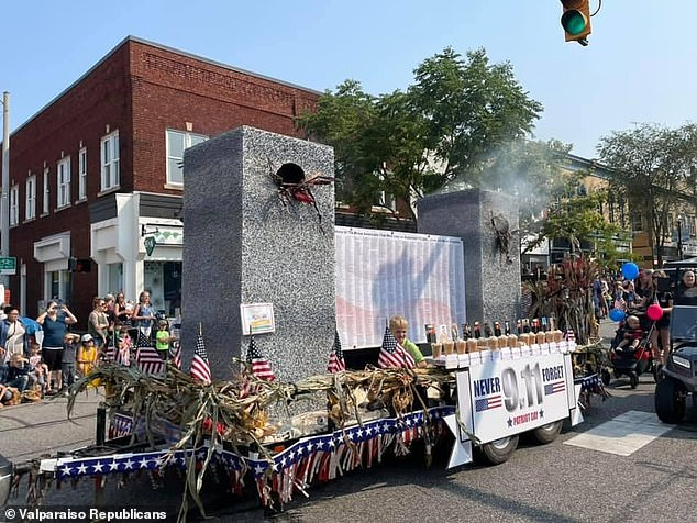 An Indiana 9/11 parade float featuring a depiction of the Twin Towers along with flames and billowing smoke was blasted as 'tasteless'