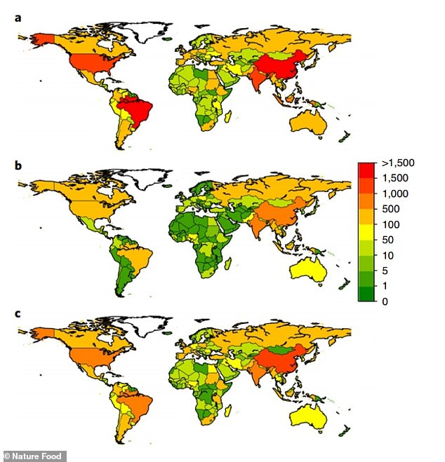 Greenhouse gas emissions from food production by country.  a, Total emissions from food production.  b, Excretion from plant-based diets.  c, Excretion from animal-based food.  The values are expressed in teragrams of CO2 equivalent (TgCO2eq).  1 Teragram is equal to 1 Billion Metric Ton