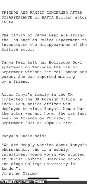 Reaching out: A further statement from the family shared on Monday read: 'Family of Tanya Fear are asking the LAPD to investigate the disappearance of the British actor'