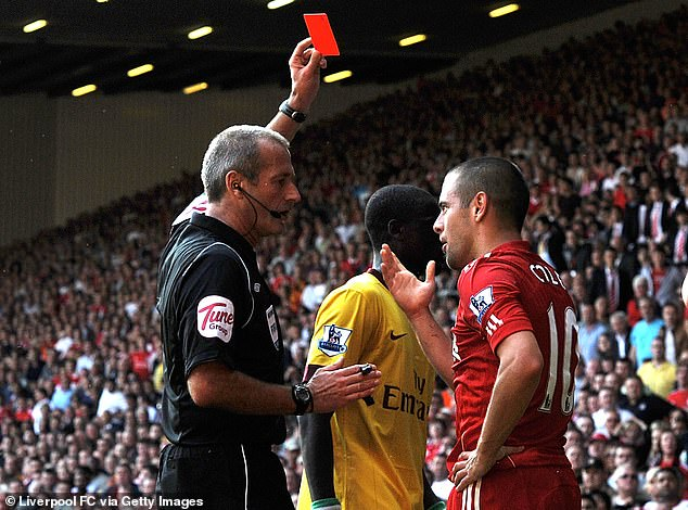 Joe Cole (right) was given a red card for a rash tackle on Arsenal debutantKoscielny