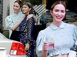Emily Blunt rocks a floral crop top at a friend's beauty shop launch in New York