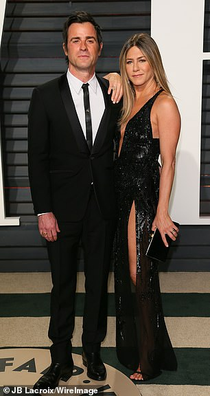 Aniston ended her two-year 'marriage' to Wanderlust castmate Justin Theroux (L, pictured in 2017) in 2017