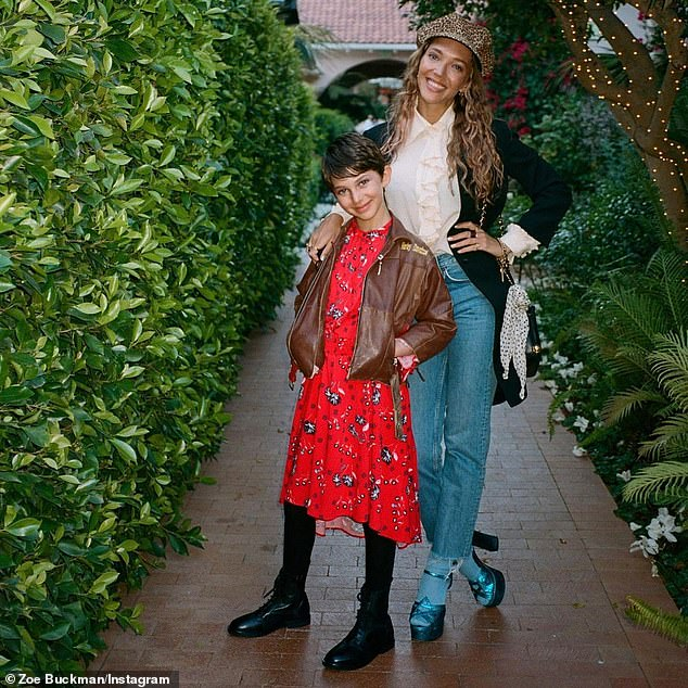 Divorced: And Schwimmer fathered nine-year-old daughter Cleo (L, pictured April 9) from his six-year marriage to Zoë Buckman (R), which ended in 2017