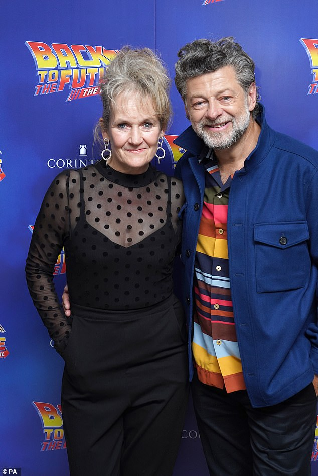 Looking smart: Actors Lorraine Ashbourne and her husband Andy Serkis also made an appearance