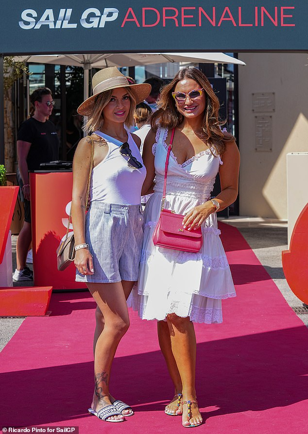Stylish:Sam Faiers cut a chic figure in a white summer dress as she joined Ashley Cole's girlfriend Sharon Canu in Saint-Tropez for SailGP on Sunday