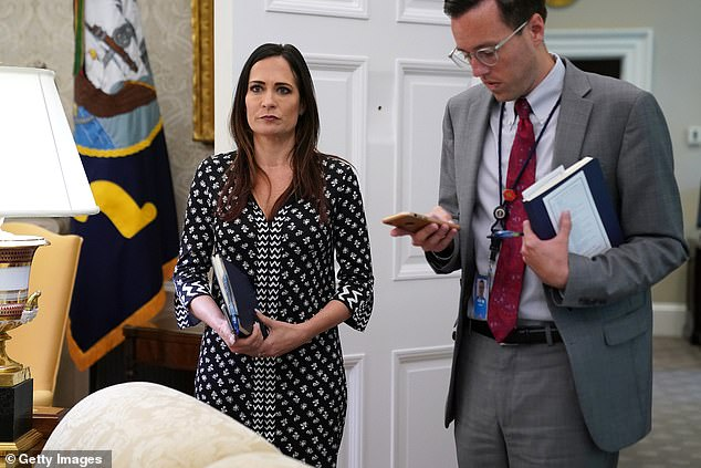 Grisham (left) was the only person in the Trump administration to serve as a top aide in both the White House's West and East Wings