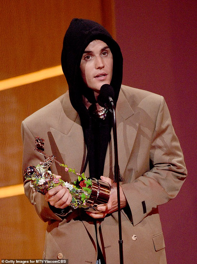 Very sweet:During his speech for his Artist of the Year win, Justin thanked wife Hailey in his speech
